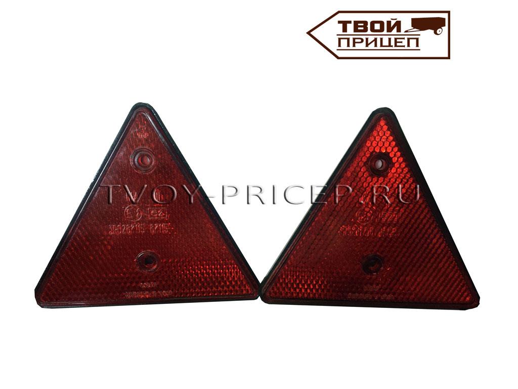 Треугольный отражатель красного цвета.